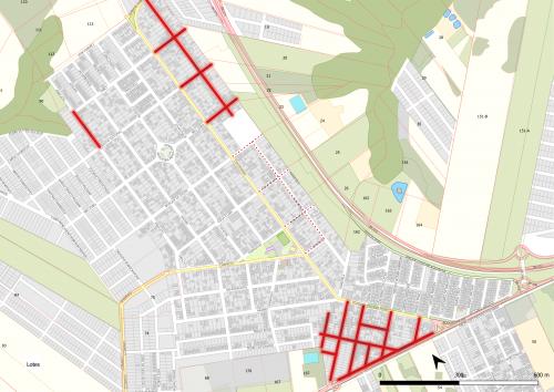 As linhas em vermelho são obras já concluídas. Linhas em pontilhados são projetos em andamento.