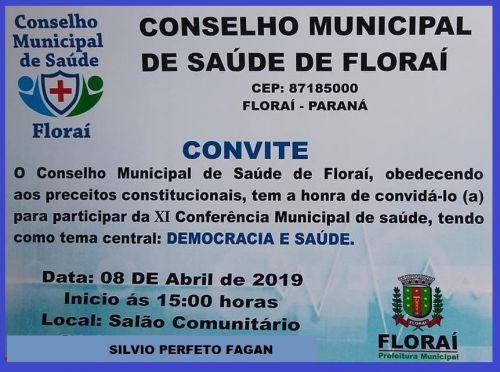 11ª conferência municipal de Saúde de Floraí.