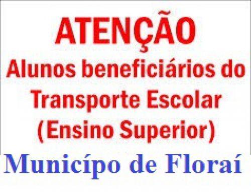 Municipio abre inscrições para o auxilio de transporte ao ensino superior
