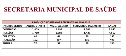 produção 2016 do Hospital Municipal de Floraí.