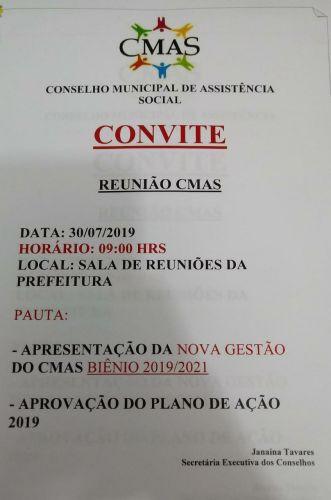 Reuniao do Conselho municipal de assistencia social