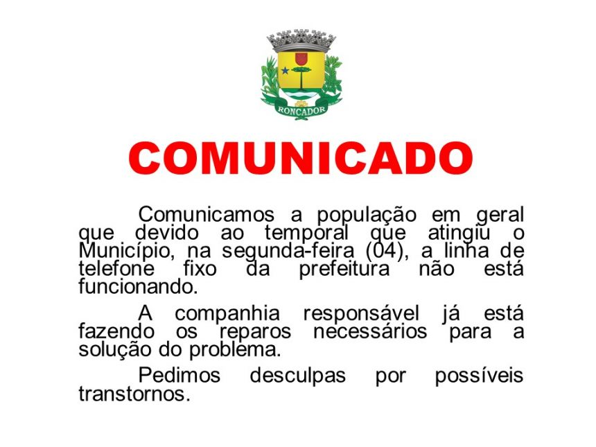 COMUNICADO - PROBLEMA NA LINHA TELEFÔNICA