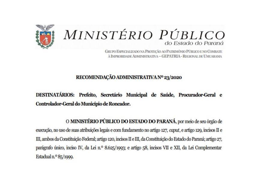 RECOMENDAÇÃO ADMINISTRATIVA 23/2020 - MP/PR