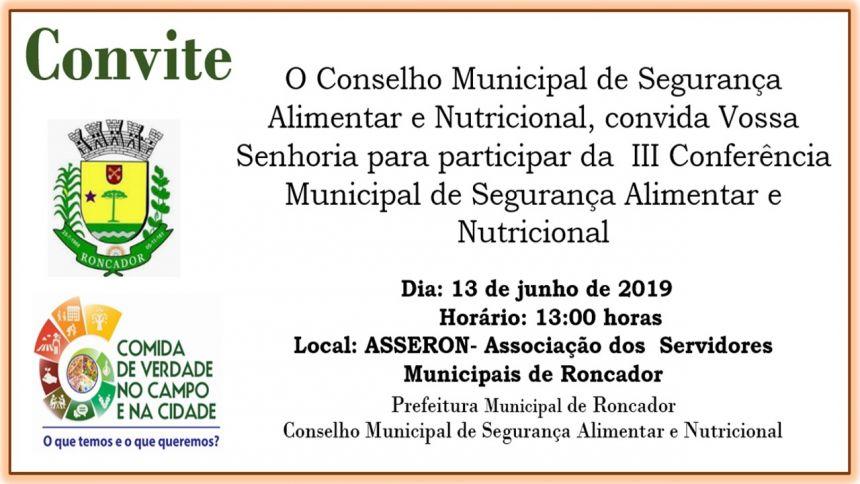 III CONFERÊNCIA MUNICIPAL DE SEGURANÇA ALIMENTAR E NUTRICIONAL