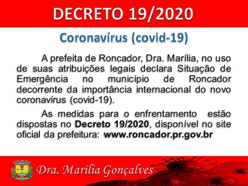 PREFEITURA EMITE DECRETO COM MEDIDAS DE ENFRENTAMENTO DO COVID-19
