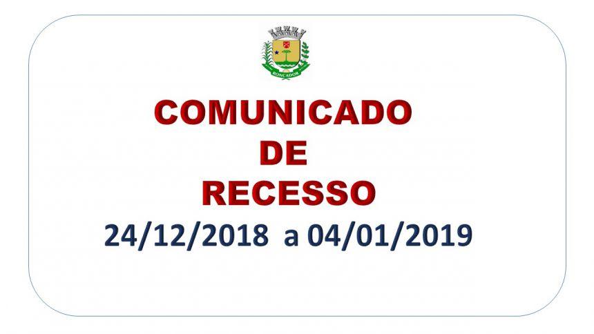PREFEITURA DE RONCADOR COMUNICA RECESSO FUNCIONAL