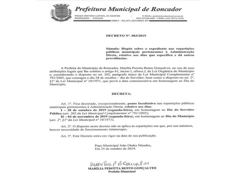 (28/10) Dia do Servidor Público - (04/11) Dia do Município