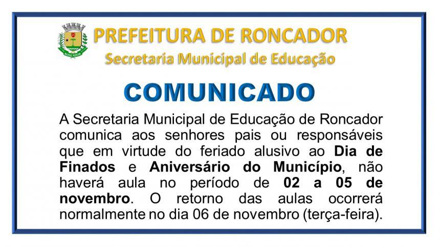 Não haverá aula nos dias 02 e 05 de novembro