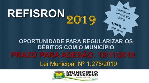 PREFEITURA DE RONCADOR LANÇA REFIS 2019