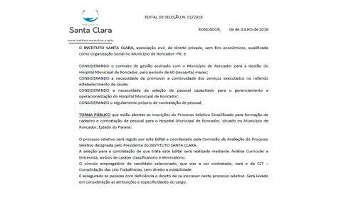 EDITAL DE SELEÇÃO N. 01/2018 - Hospital Municipal de Roncador