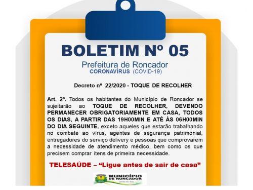 BOLETIM Nº 05 - Decreto nº  22/2020 - TOQUE DE RECOLHER