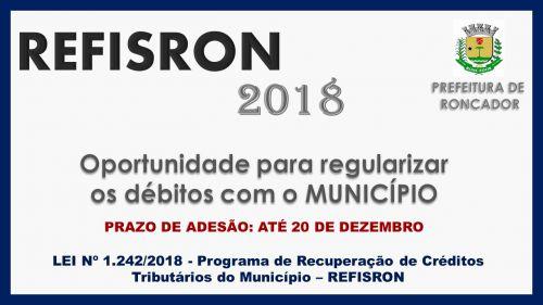 PREFEITURA DE RONCADOR LANÇA REFIS 2018
