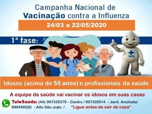 A secretaria municipal de saúde recomenda que os idosos NÃO saiam de casa para tomar a vacina nas unidades de saúde, mas que entrem em contato via whatsapp ou liguem em dos números TeleSaúde