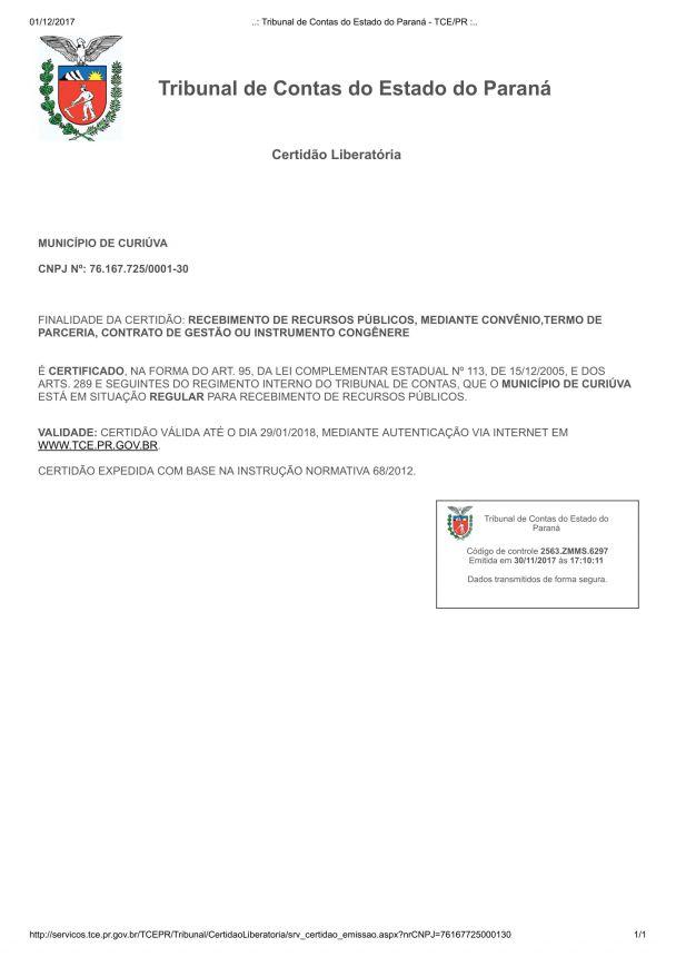 Curiúva obtém Certidão Liberatória do Tribunal de Contas do Paraná