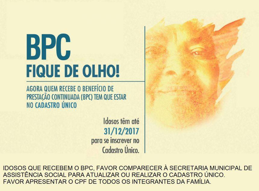 Idosos que recebem o BPC devem se inscrever no Cadastro Único até 31 de Dezembro