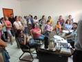 Professores municipais em reunião com o prefeito Amadeu