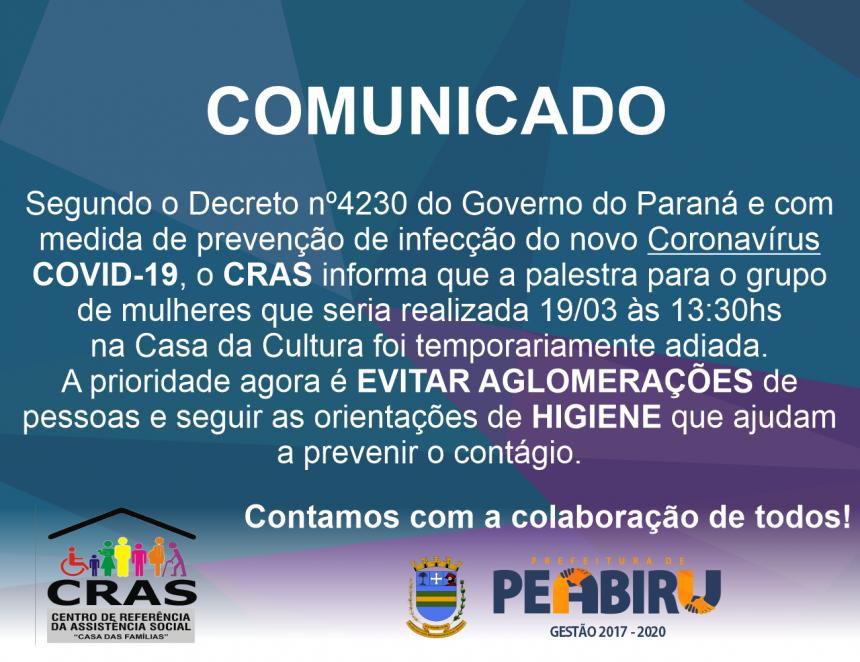 CRAS CANCELA EVENTO PARA GRUPO DE MULHERES QUE SERIA REALIZADO 19/03/2020