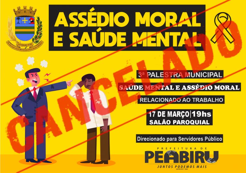 CANCELADA PALESTRA PREVISTA PARA HOJE 17/03/2020