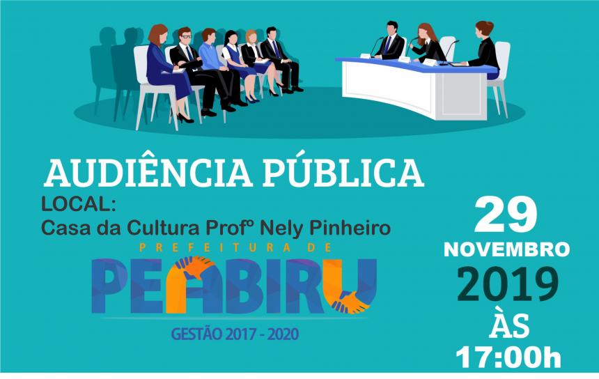 CONVITE PARA AUDIÊNCIA PÚBLICA 29/11/2019