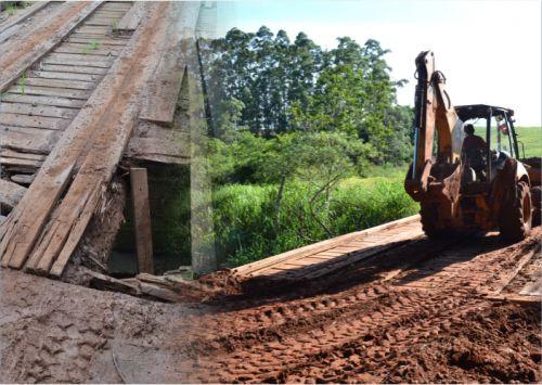 Prefeitura conserta ponte da área rural de São Pedro