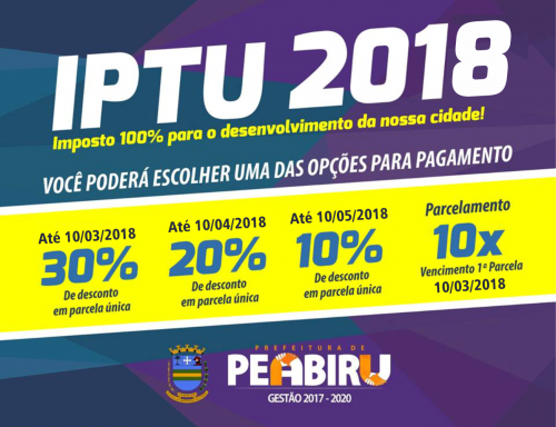 Peabiruenses podem pagar IPTU com desconto de 30%