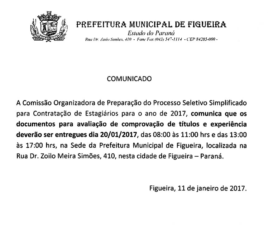 COMUNICADO PSS ESTAGIO 2017