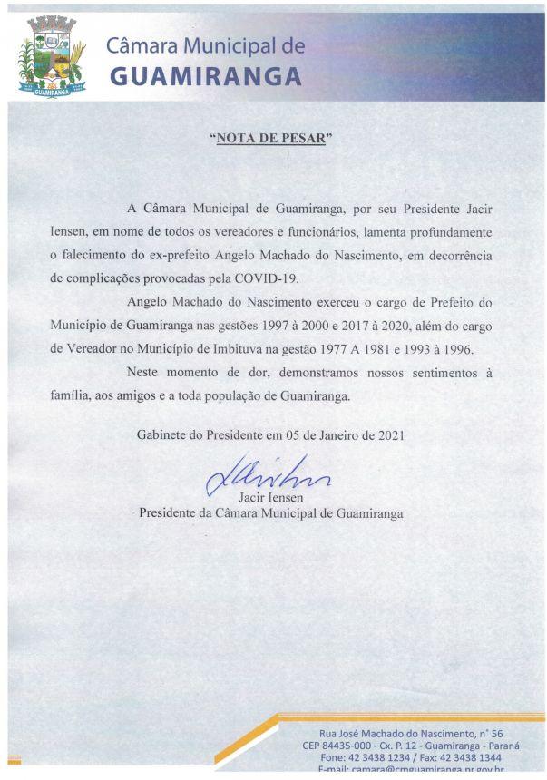 NOTA DE PESAR PELO FALECIMENTO DO EX-PREFEITO ANGELO MACHADO DO NASCIMENTO
