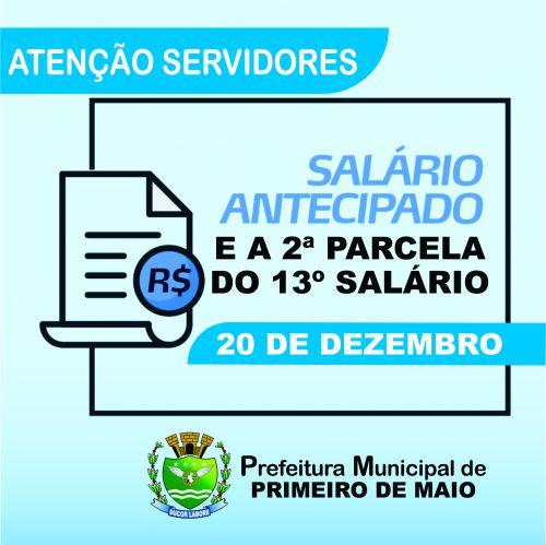 PREFEITURA ANTECIPARÁ FOLHA DE PAGAMENTO DE DEZEMBRO JUNTO COM A 2ª PARCELA DO 13º
