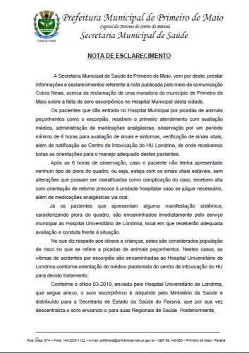 NOTA DE ESCLARECIMENTO DA SECRETARIA MUNICIPAL DE SAÚDE A RESPEITO DO SORO ESCORPIANO