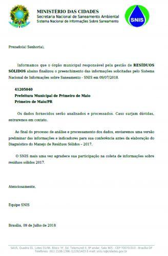 PRIMEIRO DE MAIO CONCLUI PREECHIMENTO DE INFORMAÇÕES SOBRE SANEAMENTO