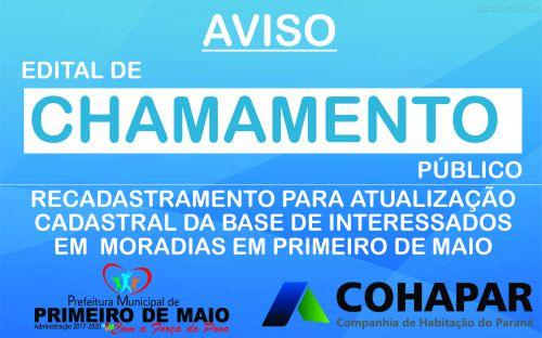 EDITAL DE CHAMAMENTO PÚBLICO PARA ATUALIZAÇÃO CADASTRAL DA COHAPAR