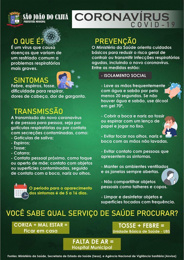 Informações essenciaissobre a COVID-19, e os contatos necessários em casos de EMERGÊNCIASem nosso município.