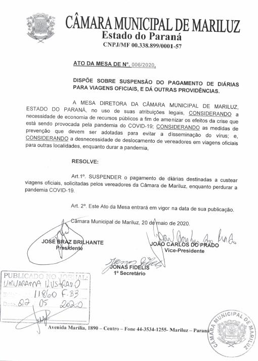 Mesa Diretora da Câmara Suspende pagamento de diária enquanto durar pandemia.