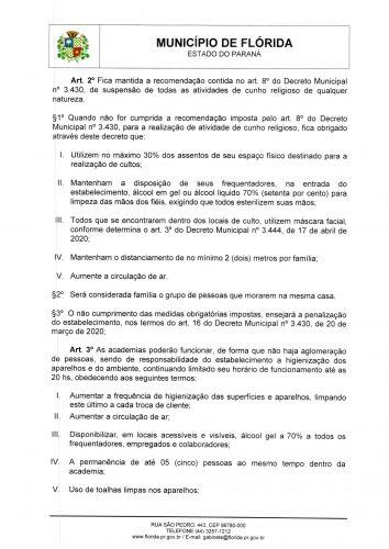 Medidas contra o Covid-19, conforme Decreto 3.451