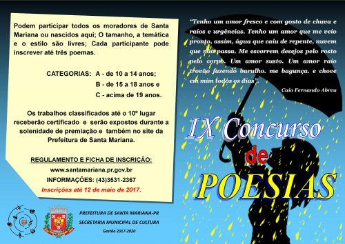 ABERTAS AS INSCRIÇÕES PARA A 9ª EDIÇÃO DO  CONCURSO DE POESIAS