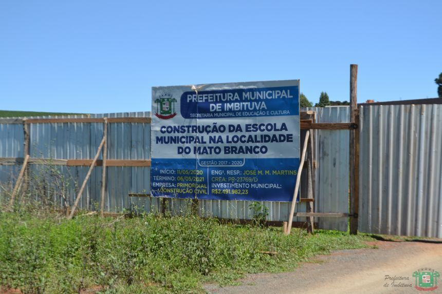 Nova escola municipal do Mato Branco irá atender mais de 300 alunos