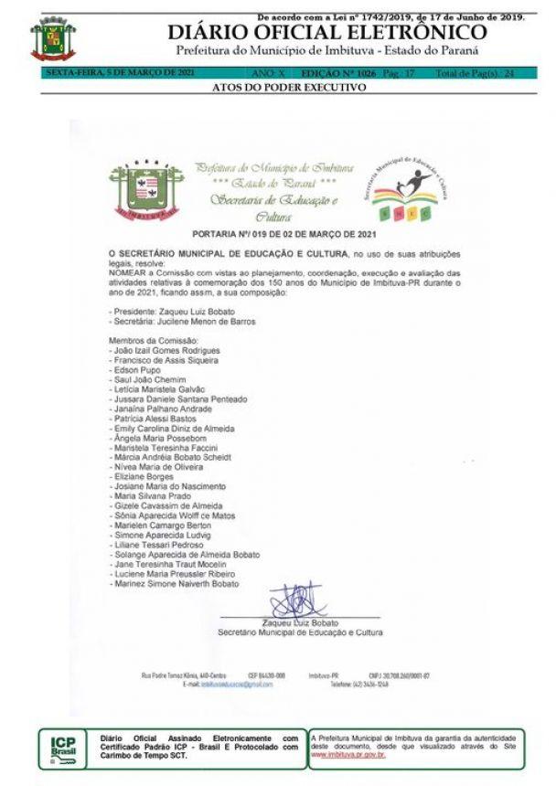 Preparativos para a comemoração dos 150 anos de Imbituva