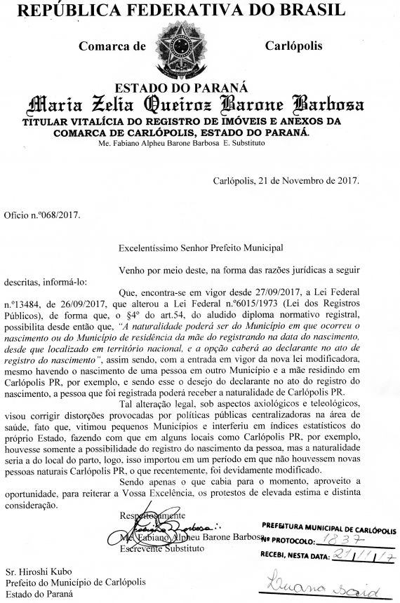 Bebês nascidos em outras cidades podem ser registrados em Carlópolis