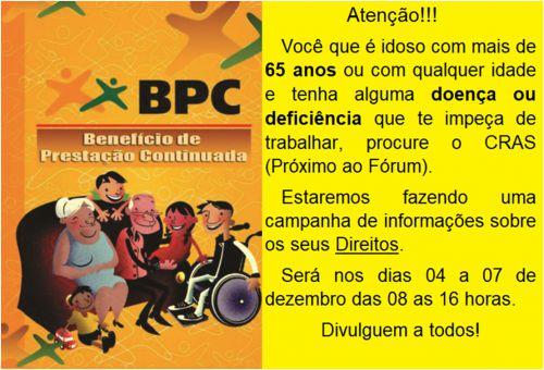 BPC - BENEFICIO DE PRESTAÇÃO CONTINUADA