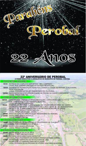 Vem ai as Festividades do  Aniversario de Perobal dos dias 26 a 28 Abril