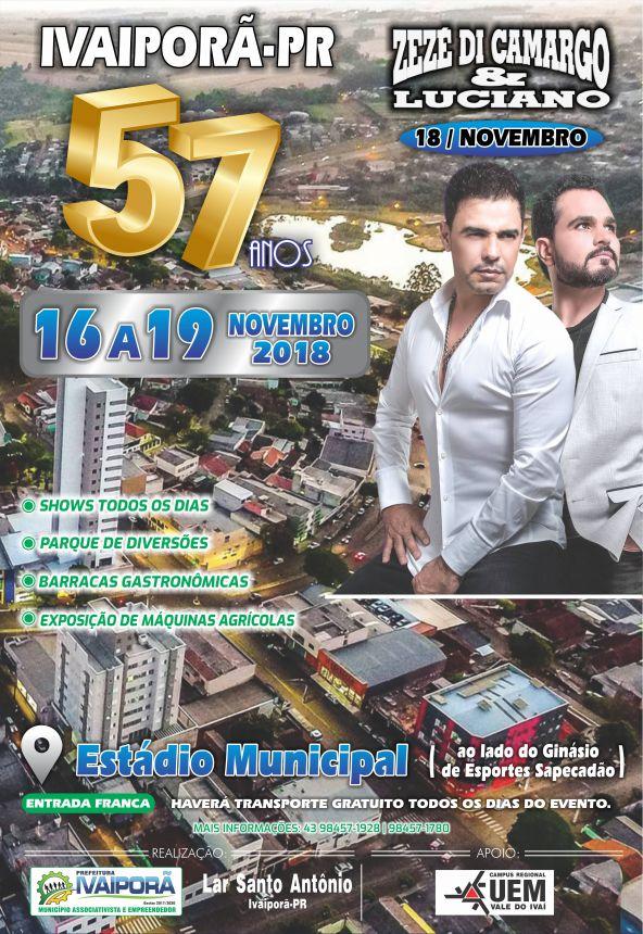 57º aniversário de Ivaiporã será comemorado com show da dupla Zezé Di Camargo & Luciano