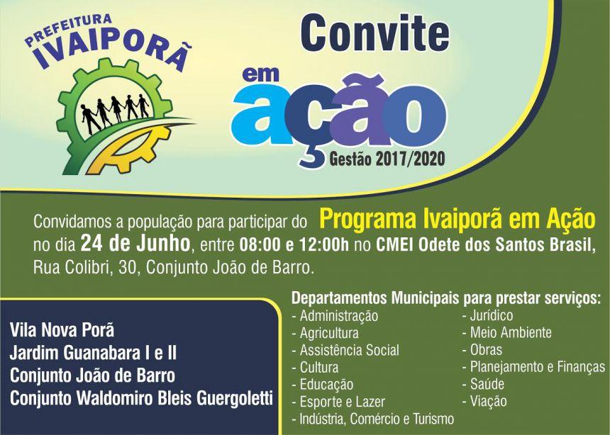 Prefeitura vai realizar Ivaiporã em Ação na Vila Nova Porã, dia 24