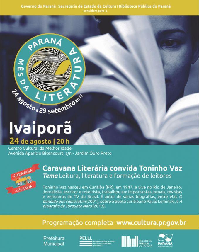 Toninho Vaz será recebido pela Prefeitura de Ivaiporã na quinta-feira, às 20h00, no Centro Cultural da Melhor Idade