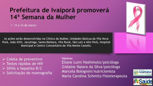 Prefeitura de Ivaiporã promoverá 14ª Semana da Mulher