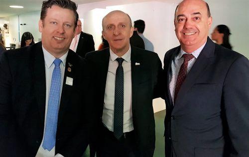 Darlan Scalco, Glademir Arold e Miguel Amaral durante encontro em Brasília, onde é debatido ingresso dos municípios na Reforma da Previdência