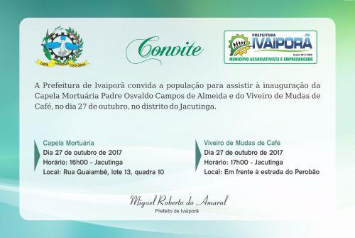 Prefeitura de Ivaiporã irá inaugurar Capela Mortuária e Viveiro de Mudas de Café no distrito do Jacutinga