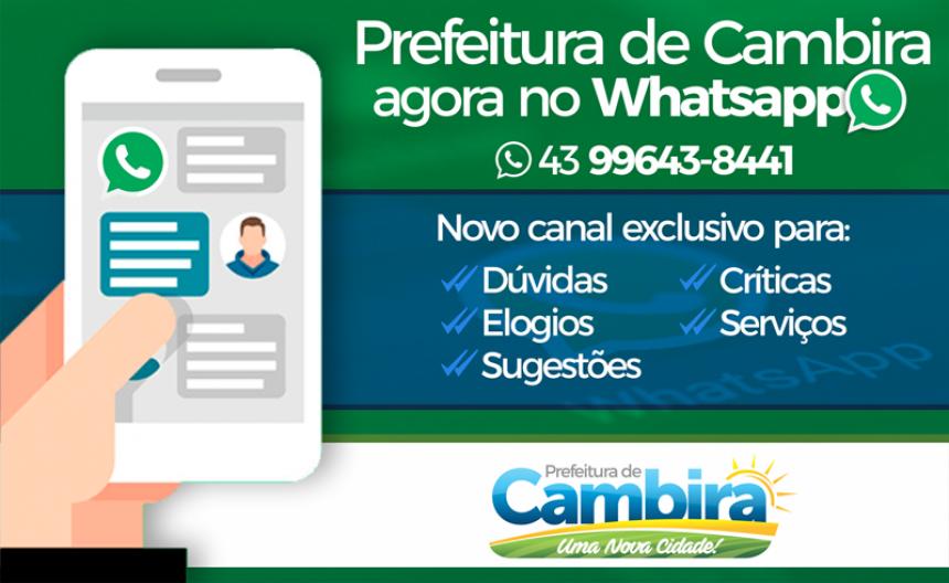 Prefeitura de Cambira lança WhatsApp para receber sugestões, dúvidas e serviços
