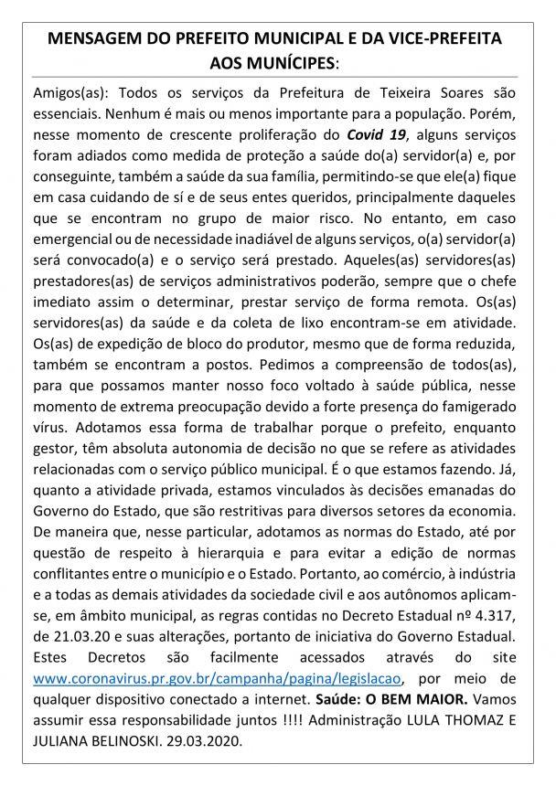 Mensagem do Prefeito Municipal e da Vice-Prefeita aos Munícipes