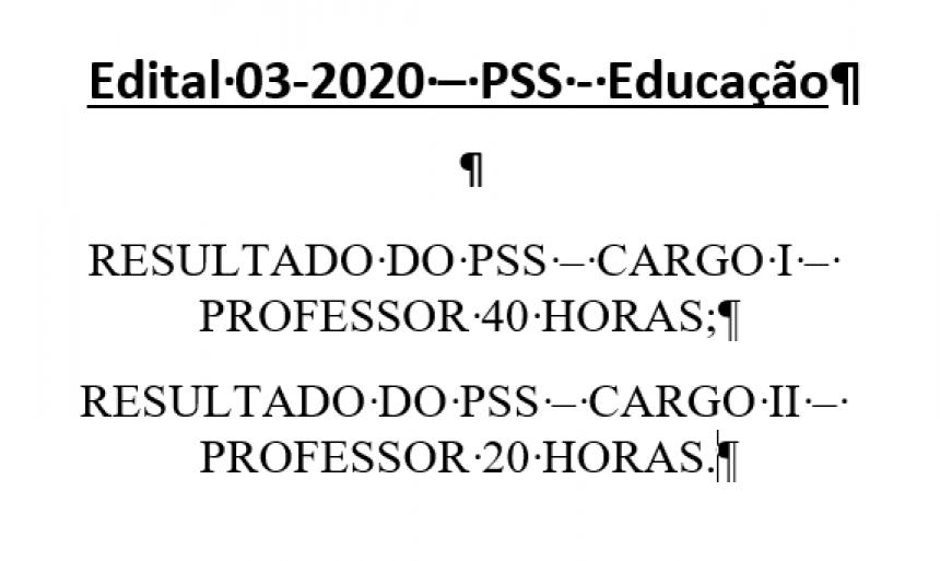 Edital 03-2020 Resultado PSS