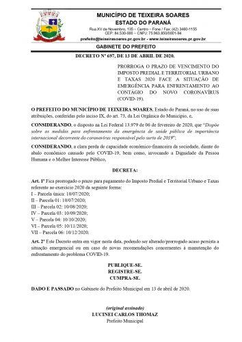 decreto 697 prorroga prazo pgto iptu e taxas